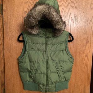 Aeropostale puffer fur hood vest
